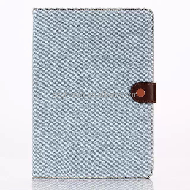 Indigo colorful Denim Card Holder Flip Leather Case Cover For ipad air 2 combo tablet case