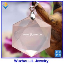 Beautiful Light Pink Natural Crystal David Star Pendant Handmade Hexagon Crystal Pendant