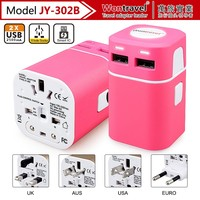 OEM electric car charging stations universal world travel adapter with dual USB port