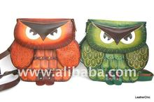 Handmade Leather Owl Crossbody Bag