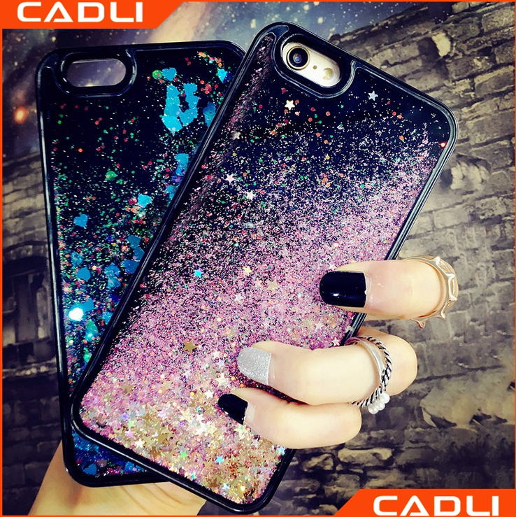 Soft TPU Black Edge Glitter Small Star Heart Liquid Chemical Company Case For iPhone 7 7 Plus