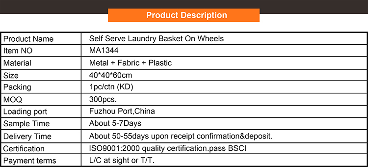 Durable design portable wholesale high quality laundry basket