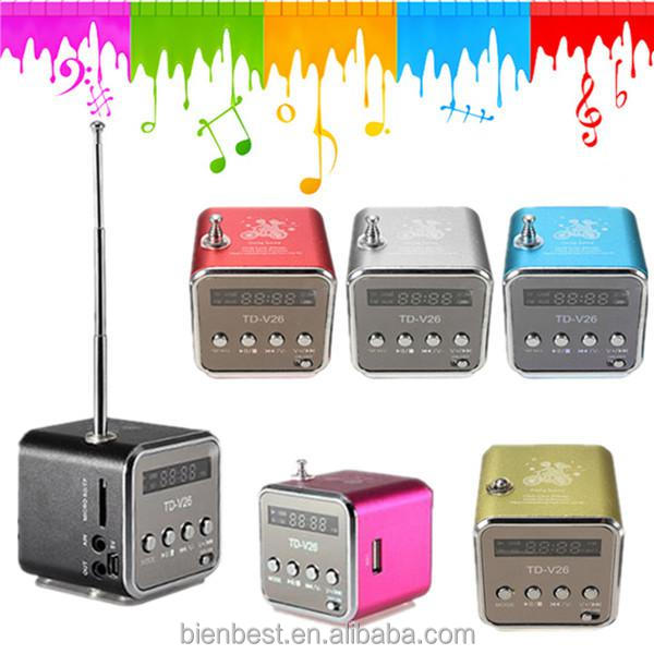 Home Stereo Mini portable Digital Speaker Music Player FM Radio USB TD-V26 Cube Sound box digital speaker