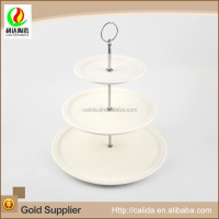 Three layers circular plate home used elegant white ceramic patty cake set