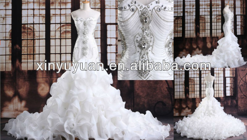 cristales de lujo sirena vestido de novia ltg-008 caro vestido de