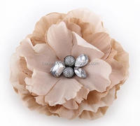 Charming Big Fabric Artificial Flower With Acrylic,Fabric Flower For Suit Embellishment