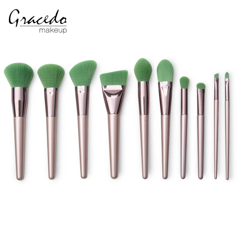 10 piece foundation blush lip brushes private label makeup brush set