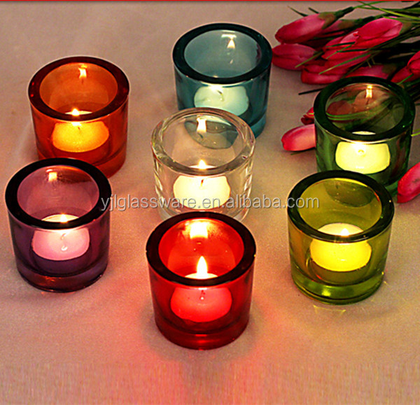 Hot sale fancy design thick glass candle holder