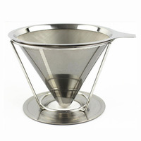 Pour over and 304 stainless steel metal coffee dripper maker