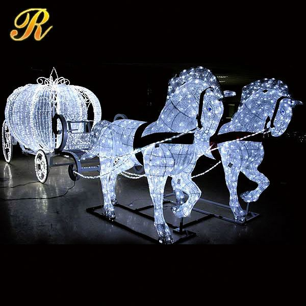 Brand-new outdoor christmas decoration horse carriage