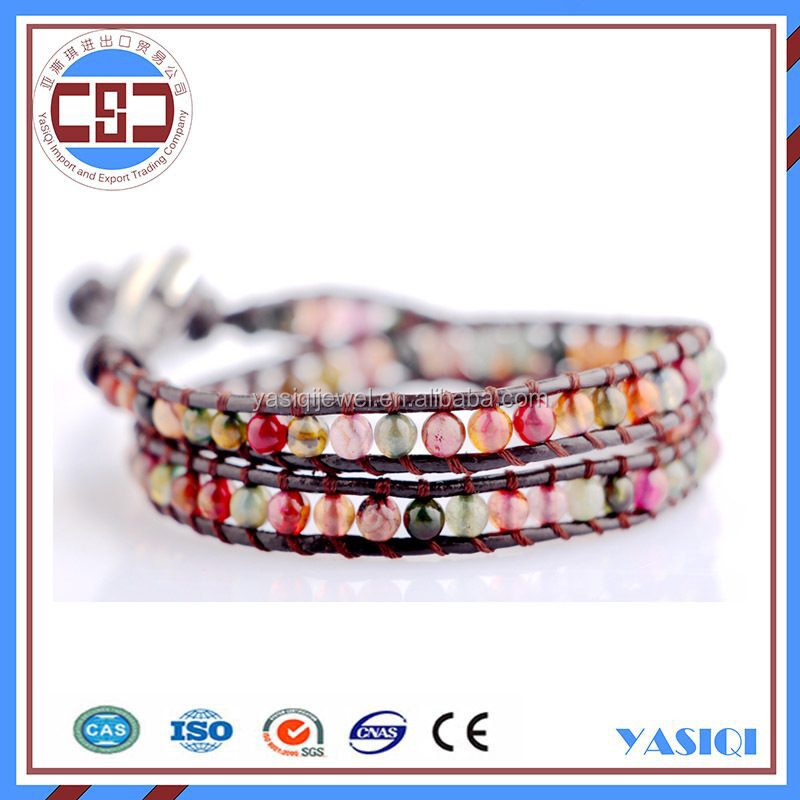 wholesale the beautiful real leather cord string stone beads bracelet new design high quality handmade ladies' charming