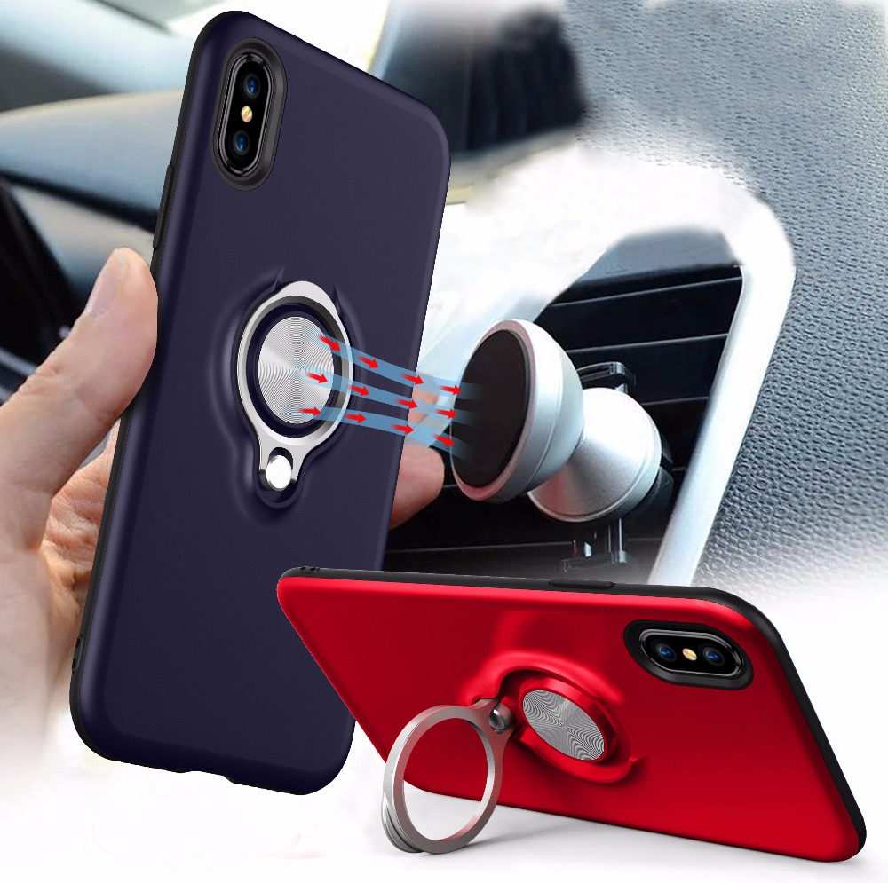 New products 2018 Durable Portable Shockproof <strong>Cell</strong> <strong>Phone</strong> Case for iPhone X Luxury Case with Magnetic <strong>Phone</strong> Ring Stand Holder