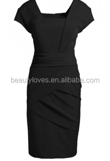 Black Plain Pleated Square Neck Short Sleeve Slim Dress pictures office dress for ladies