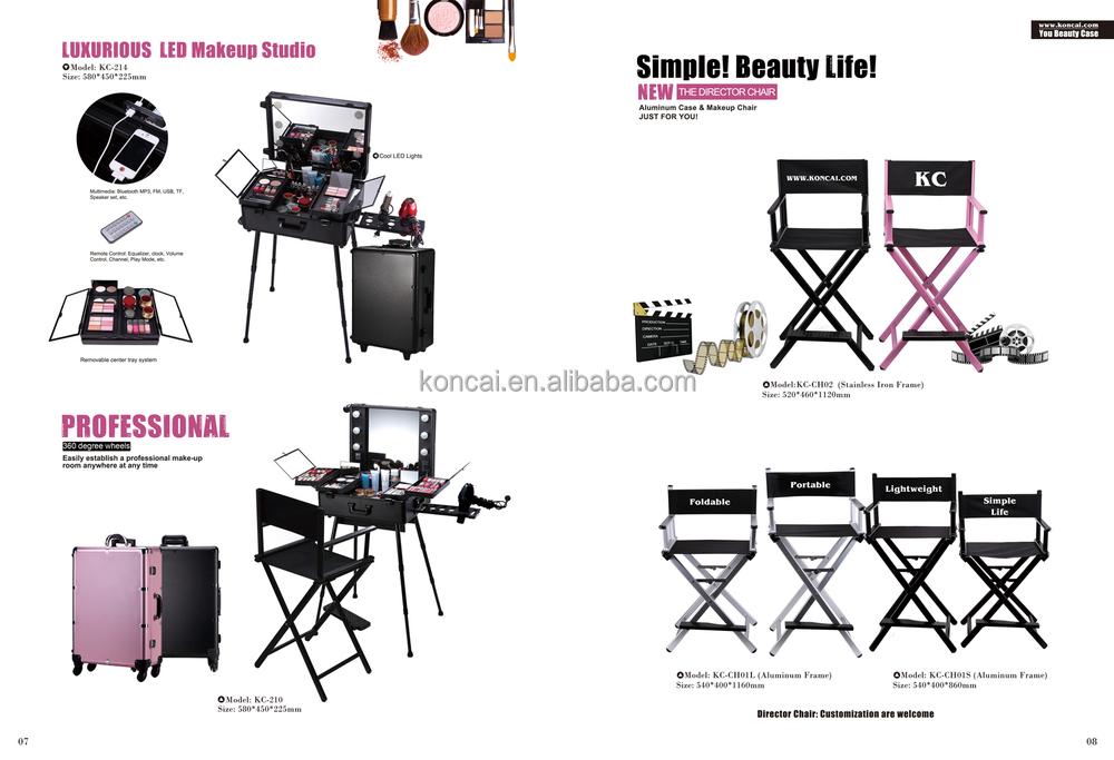 2018 New color Makeup Station Makeup Train case Beauty Case with lights