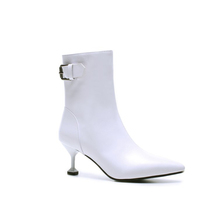 Ankle White Boots For Women Pointed Toe 6.5CM High Heel Boots Fashion Winter Shoes Women