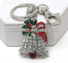 Silvertone/Clear&Red Crystal/Green Epoxy/Metal Bell/High Plating/Key Ring&Chain