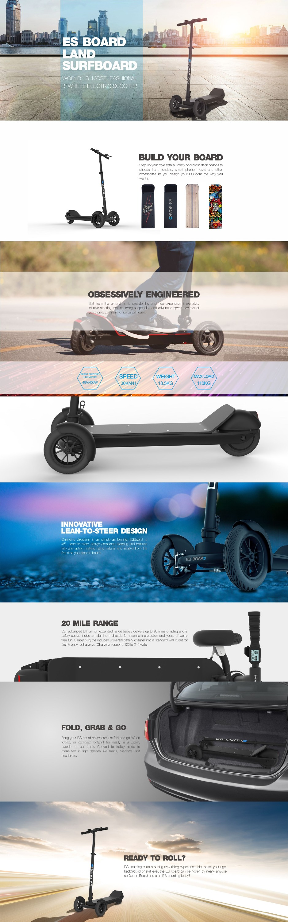China 2017 new 3 wheel personal tracked vehicles electric skateboard mobility for sale