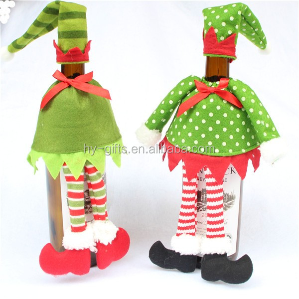 hot sale christmas wine decoration cover new year bottle cover