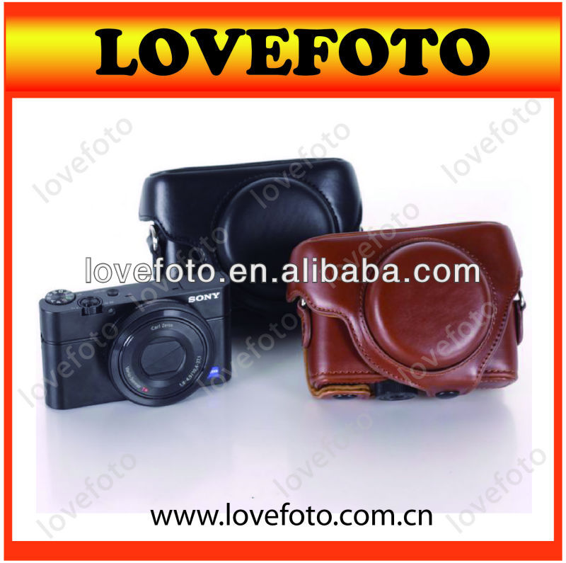 Lovefoto Vintage Black/Brown PU Leather Camera Case Bag for Sony RX100
