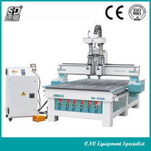 SD-1325D wood cnc machine,an intelligent ATC equipment by two separate spindles automic switching