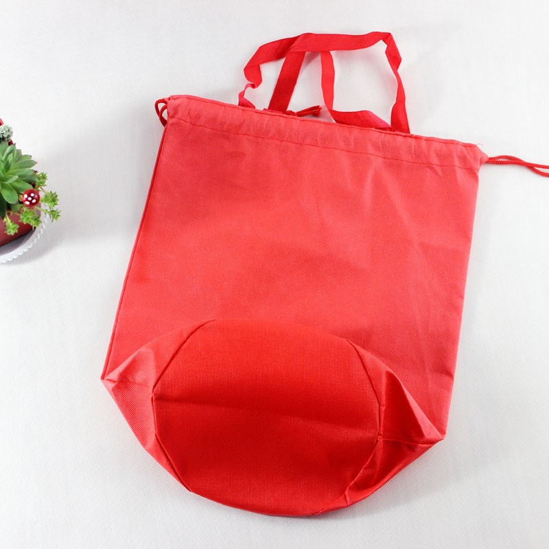 wholesale nonwoven sew round bottom drawstring wine tote bag