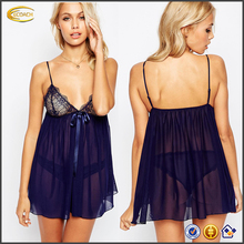 Ecoach Wholesale OEM new design Floral lace cup navy Corded Sheer mesh chiffon nightwear 2017 mature women sexy lingerie
