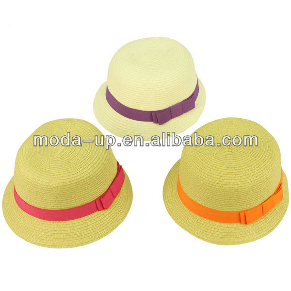 Girls straw hat with bowknot
