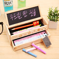 Korea style double layer stationery wooden drawers pencil case