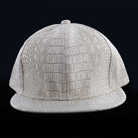 OEM design blank custom caps crocodile skin leather snapback wholesale