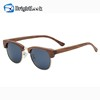 Vintage style metal half frame bamboo wooden sunglasses