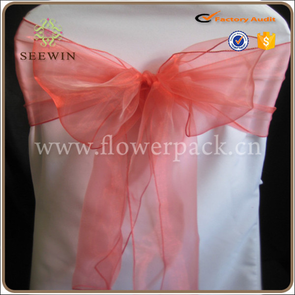 Cheap organza sash chair cover wedding