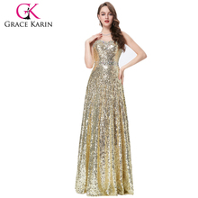 Grace Karin Luxurious Women's Special Sweetheart Long Sequins Dresses Gold Formal Evening dresses CL6103