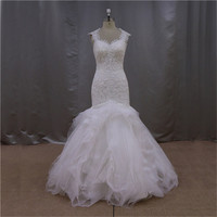 ready made popular flawless mermaid ruffled feather wedding gowns