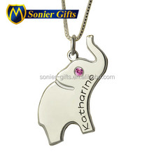 custom silver engraved elephant pendants and charms with alphabet