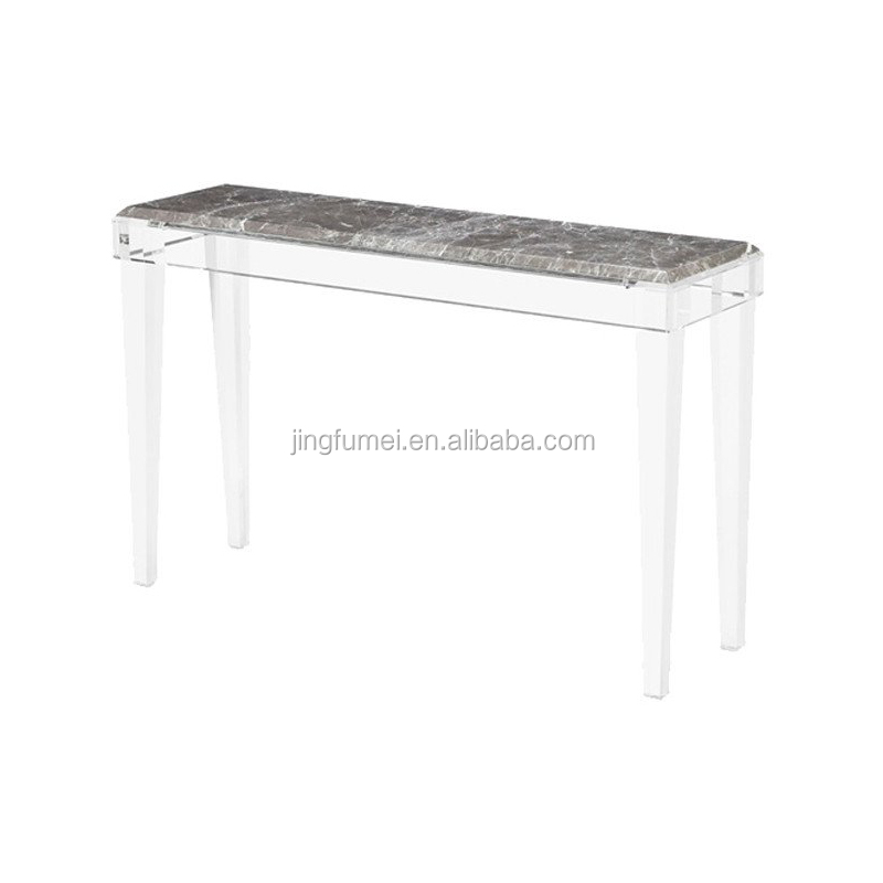 Customized 4 Legs Acrylic Foyer Console Table Clear Lucite Side Table For Living Room Or Hallway