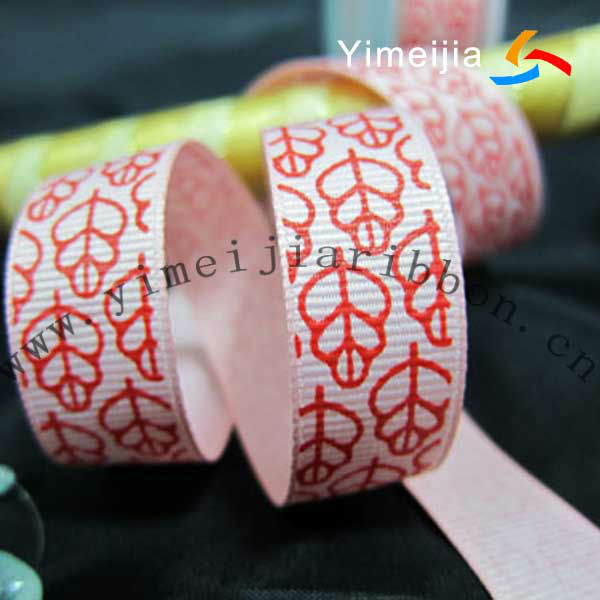 Maple leaves single face printed grosgrain ribbon