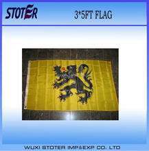 custom 100% polyester Yellow Flanders Flemish Lion Polyester Flag
