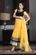 Yellow & Black Designer Chudider Salwar Suit