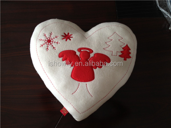 Heart shape embroidery plush stuffed Christmas holiday cushion