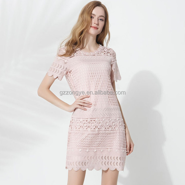 Pink lace beaded women dress for party