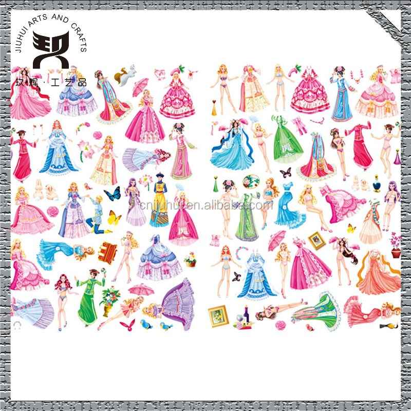 Foam Girl Puffy Stickers, Cheap Princess Dress Up Sticker for Promotional