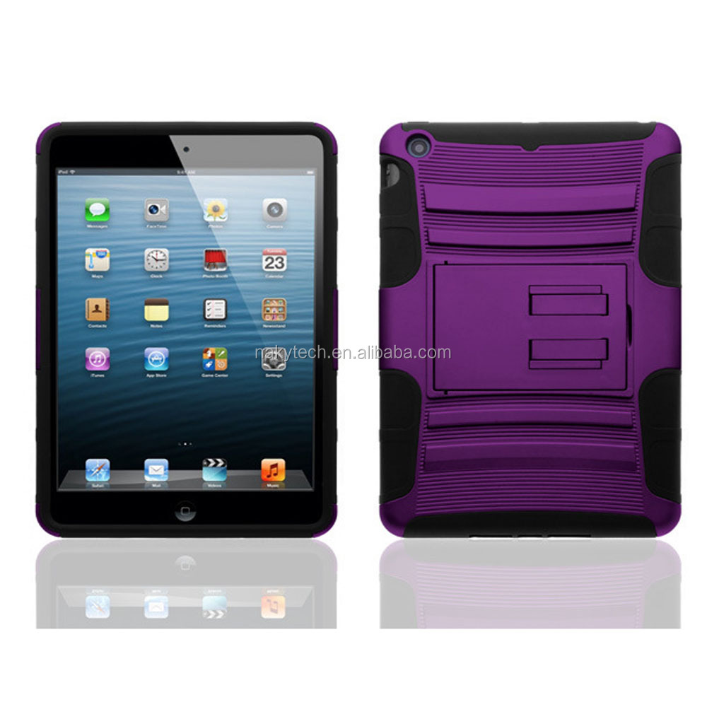 Most popular tablets case of PC+Silicone flip case for Ipad mini retina
