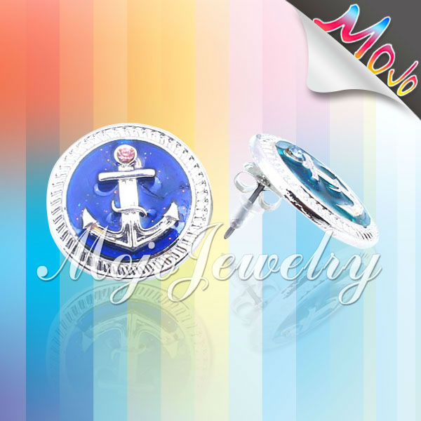 Mood Color Changing Hoop Earring for Boys Anchor Pettern Round Pendant Earring