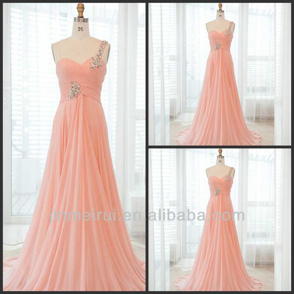Custom Made Floor Length Back Zipper One Shoulder Chiffon Formal Evening Dress Peach Prom Dresses Cheap Made In China