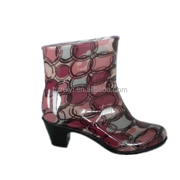 women fashion circle print ankle boots,high heel PVC rain boots,outdoor waterpoof jelly shoes