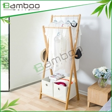 Bed room foldable stand and mobile bamboo clothes rack