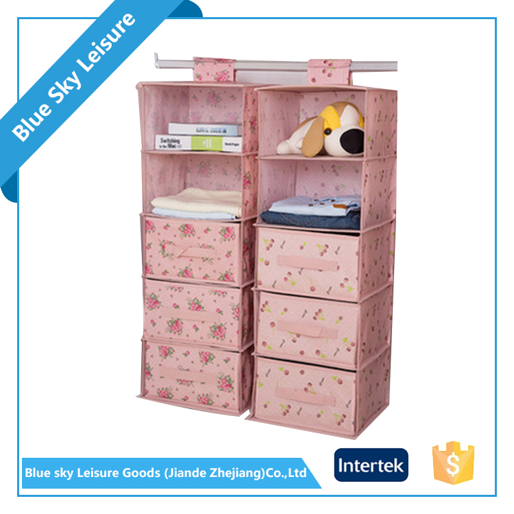 PP Non-woven Fabric Portable Drawer Suspension Type Hanging Closet Organizer