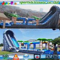 Hot Sale Tropical giant inflatable water slide for adults triple lanes