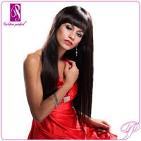 Remy Very Long Black Straight / Finger Wave Hair Wigs