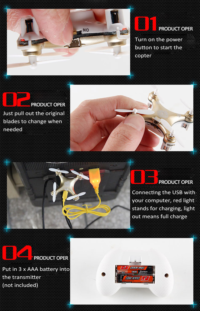 Cheerson RC Helicopter CX10A CX - 10A 2.4GHz 4CH RC Micro RC Drone Quadcopter UFO with Headless Mode Quadcopters